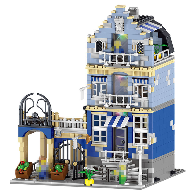 Large Building Blocks Sets Factory City European Market Street Model Block Compatible legoINGLYS City Technic toys for toddlers hm136 57pcs large particle building
