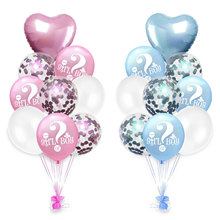 9/18PCS Sequin Balloon Gender Reveal Girl or Boy Balloon Baby Shower Party Heart Foil Balloons Birthday Party Decorations Kids houhom baby shower decorations it s a boy girl gender reveal balloon large baby feeder balloon birthday party decorations kids