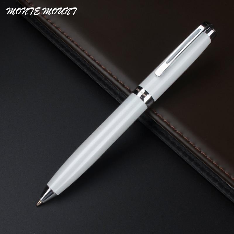 MONTE MOUNT ปากกาหรู - ปากกาลูกลื่นคลิปเงินสีขาวจัดส่งฟรี