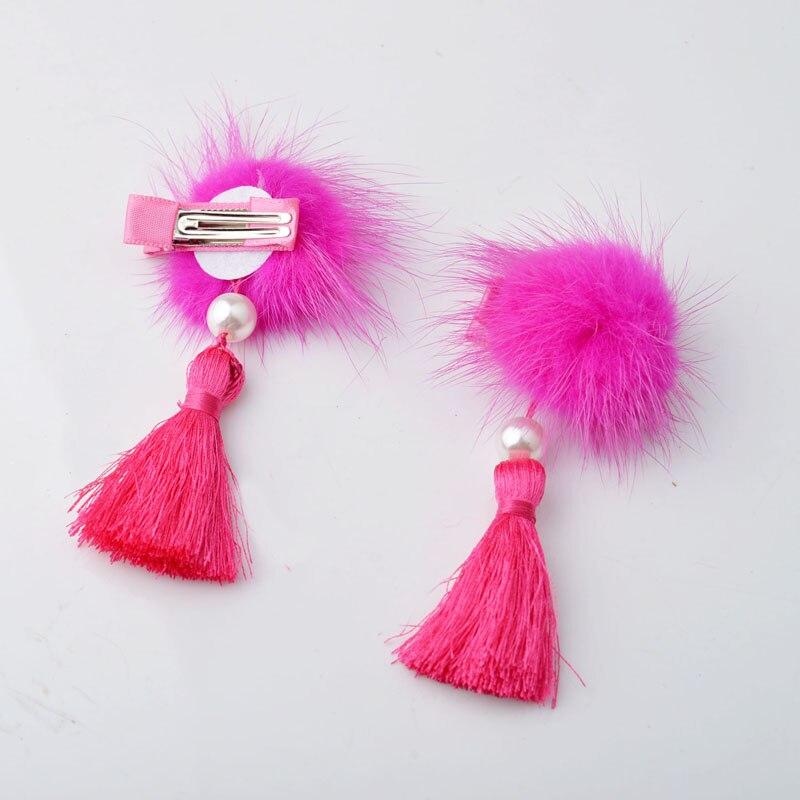 YYXUAN 2 шт. Лот модные вечерние красный меховой шарик девочек прическа утконоса кисточкой дети зажим для волос