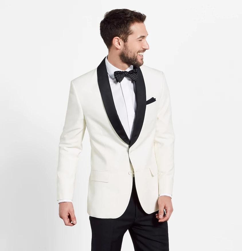 High Quality Ivory Mens Suits Groom Tuxedos Groomsmen Wedding Party Dinner Best Man Suits (jacket+pants+tie) K:2732 Hot Sale 50-70% OFF