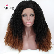 Synthetic Kinky Curly Wig Black Ombre to Brown Lace Front Wigs Heat Resistant Fiber Hair Half Hand Tied for Women
