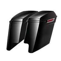Triclicks 5 Vivid Black Stretched Extended SaddleBags For Harley Touring 14 18 W/ Latch