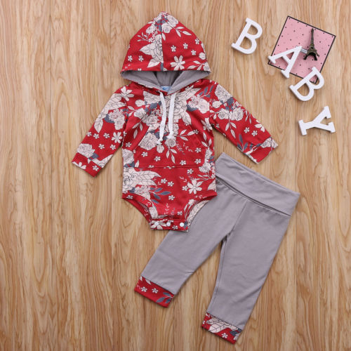 Fashion Toddler Infant Baby Girls Clothing Floral Hooded Romper Jumpsuit Leggings Pants Outfits Winter Clothes Set 2pcs