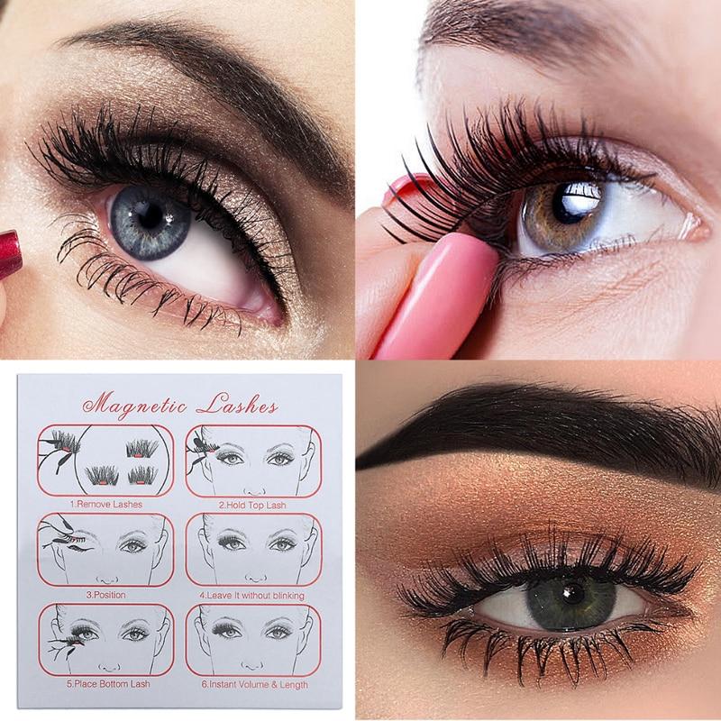 False Eyelashes 6d Individual Magnetic Lashes Double Three Magnet