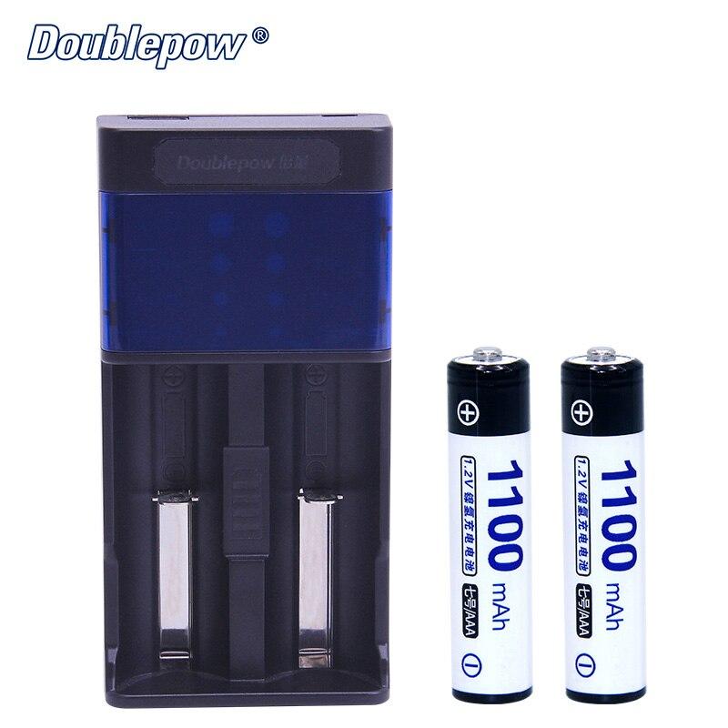 2 слота Doublepow DP UK85 USB ЖК индикатор Интеллектуальное Быстрое зарядное устройство + 2 шт 1,2 В AAA Ni MH1100mA батареи в полный комплект