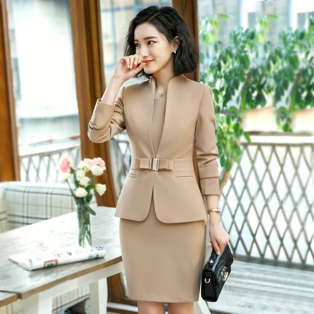 711fb77237a5 Formal elegante mujer blazer negocios vestidos vestido traje para mujeres  Oficina 2 piezas vestido formal trajes tops chaqueta conjunto