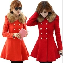 New winter women's wool coat. Slim long section of double breasted wool collar woolen coat