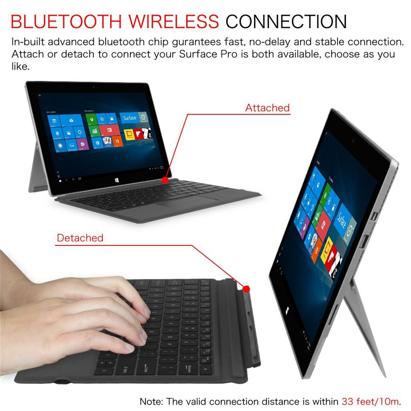 Megoo Surface Pro Keyboard Type Cover Ultradunne Backlit Draadloze - Computerrandapparatuur - Foto 5