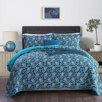 CHAUSUB Cotton Bedspread Quilt Set 3pcs Blue Paisley Print Quilts Quilted Coverlet Bed Cover Pillowcase King Queen Size Blanket