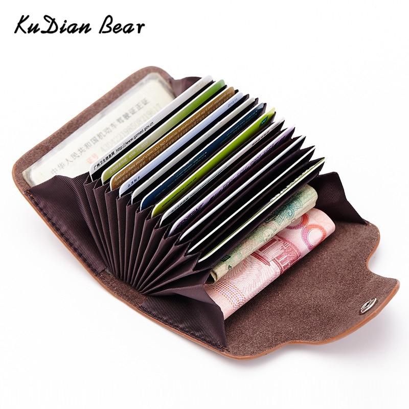 KUDIAN BEAR Leather Credit Card Holder 20 Card Slot Minimalist Business Card Holder Trav ...