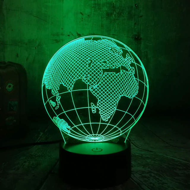 Amroe 2019 World Geography Earth Globe 3D LED Lamp Art Sculpture Night  Lights 3D Optical Illusion Desk Lamp Touch Button GX131
