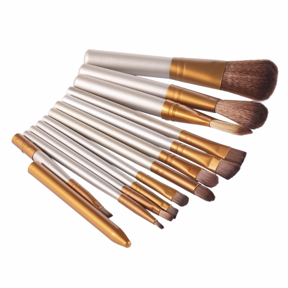 12 Pcs/set Professional Makeup Brushes Set Cosmetic Eyeshadow Foundation Concealer Brushes Face Brush Make up Tools Accessories 4 pcs golden professional makeup brushes waistline sculpting brush set cosmetic tool maquiagem accessories with original box