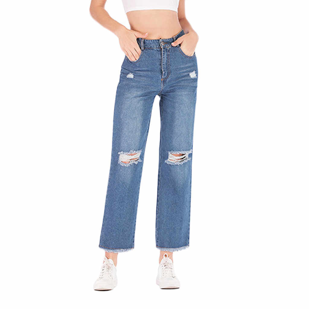 Nine-cent Jeans Women's Pure Color Hole Washed women jeans trousers Vintage Ripped jeans for women jean cintura alta mujeres