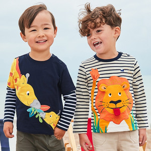 Jumping meters Animals Applique Boys Tshirts Long Sleeve Cotton Baby Boys Clothes Autumn Spring New 2019 Kids Boys Girls Tee Top(China)