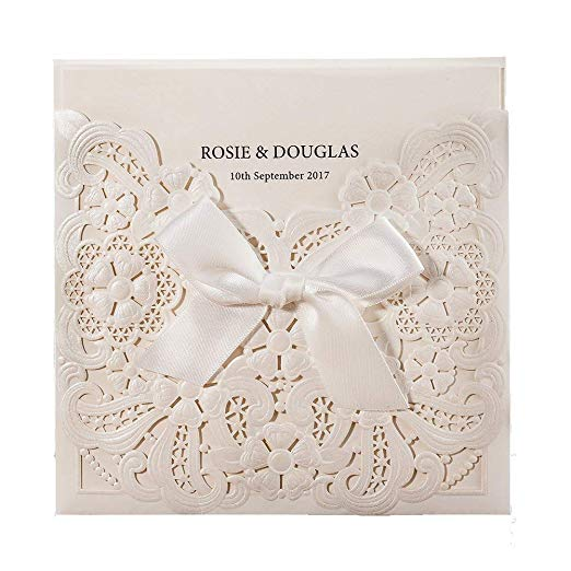 50pcs lot Laser Cut Wedding Invitations Card with RSVP and Thank You cards Bowknot Pearl White