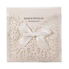 Pearl White Laser Cut Wedding Invitations Card with RSVP and Thank You cards Bowknot Hollow Floral Customizable CW6112 50pcs/lot