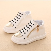 2016 children rivet shoes gold toe high quality kid sneakers white comfortable footwear little girl boy's casual shoe for baby