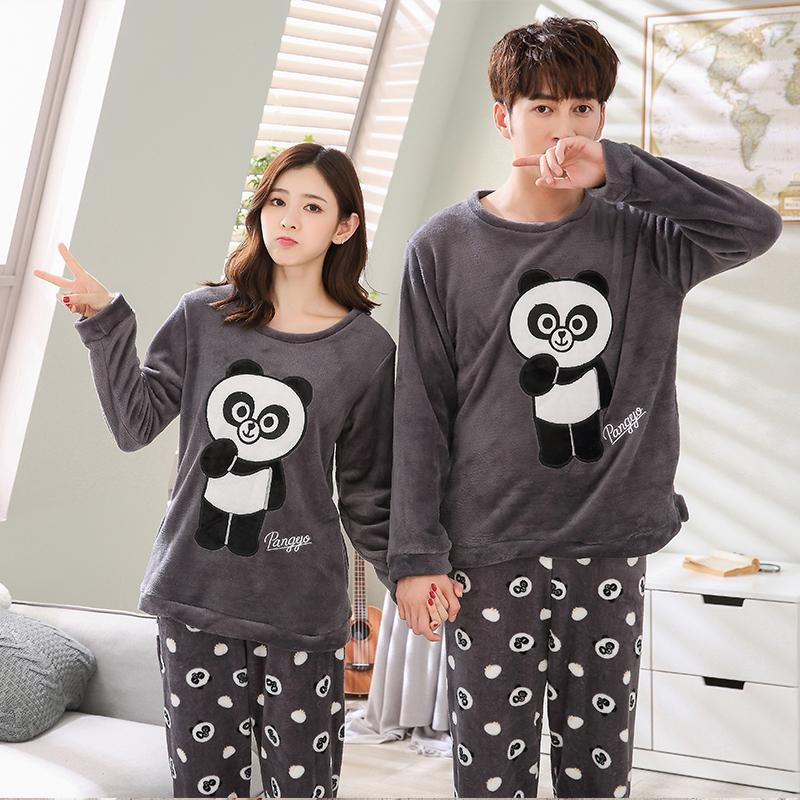 23ba19924480 Detail Feedback Questions about Couples Cute Cartoon Thick Warm Flannel  Pajamas Sets for Women 2018 Winter Long Sleeve Coral Velvet Pyjama Men  Homewear ...