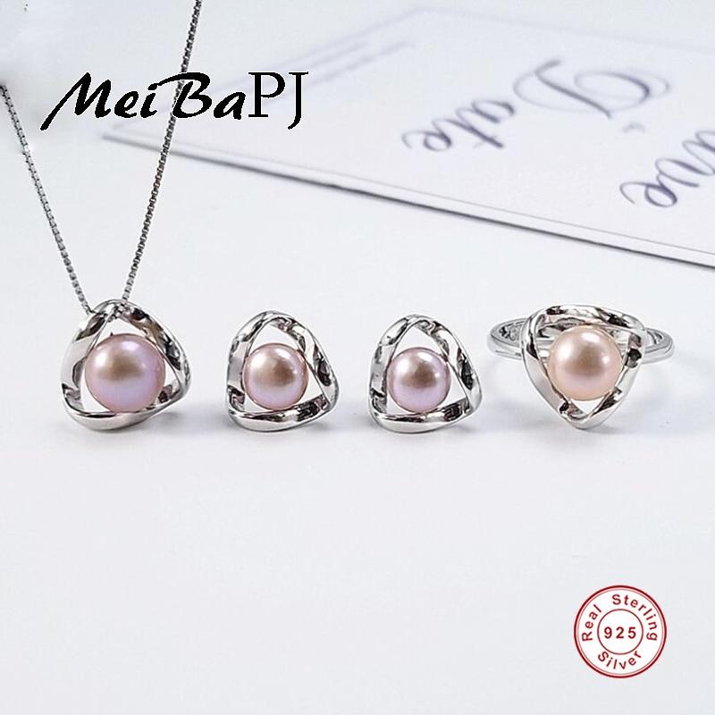 [MeiBaPJ]Fashion Personality Simple AAA Zircon Wavy Shape Set S925 Silver Earrings & Necklace & Ring Fine Jewelry Sets For Women simple faux zircon opening ring for women
