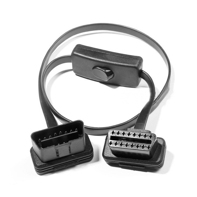16 Pin Thin 60CM OBD2 OBD OBDII Auto Car Extension Cable With Switch Type Adapter Connector