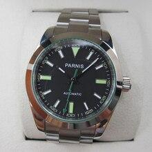 Venta caliente 39mm Parnis Cristal de Zafiro Esfera de Color Negro con Verde Marca Movimiento Automático Reloj de Pulsera