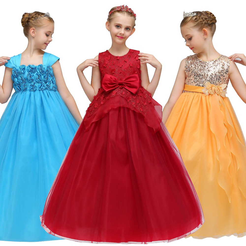 Girls summer floral princess Party Dress for Wedding Little Girl long Children clothes Birthday tutu Dresses baby girl clothing mottelee girls princess dress blue kids party tutu dresses birthday summer baby outfits floral toddler frock children clothing