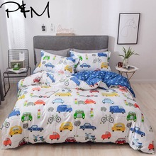 Papa&Mima Car and bicycle print Cartoon style bedding sets Cotton bedlinens Twin Queen King size pillowcases duvet cover