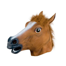 Halloween Costume Horse Head Mask Creepy Fur Mane Latex Realistic Cool Mask realistic horse head mask full head fur mane latex creepy animal mask for halloween decoration party costume props mdp