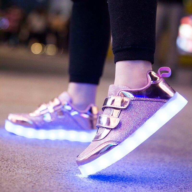 25-37 Größe USB Lade Korb Led Kinder Schuhe Mit Leuchten Kinder Lässig Jungen & Mädchen Leucht Turnschuhe Glowing Schuh Rosa Gold
