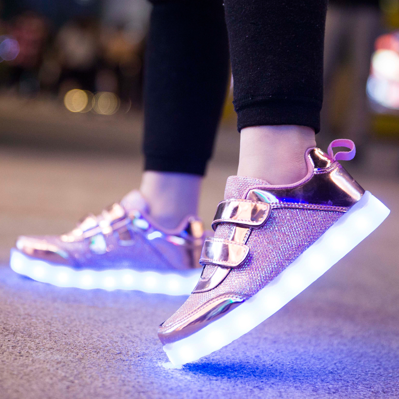 25-37 Size USB Charging Basket Led Children Shoes With Light Up Kids Casual Boys&Girls Luminous Sneakers Glowing Shoe Pink Gold 2017 new fashion kids sneakers led luminous usb rechargeable boys casual shoes size 25 37 girls colorful flashing lights shoe