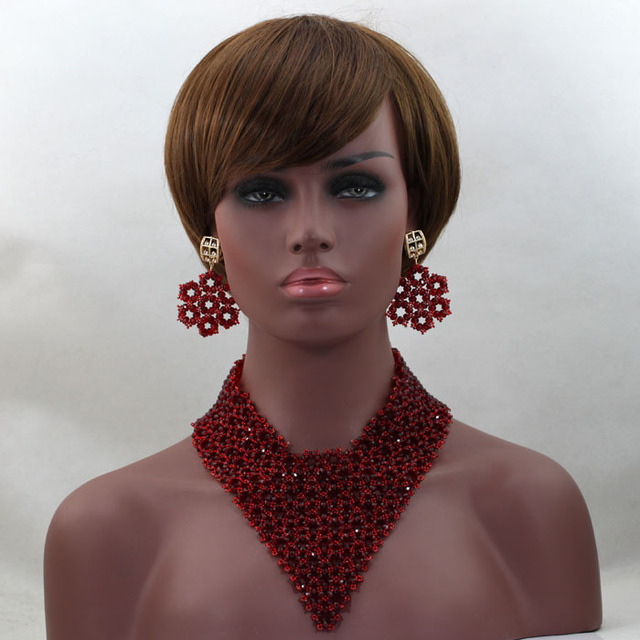 Mais cor de cristal gargantilha colar ALJ542 traje de casamento nigeriano Beads africanos Set jóias frete grátis