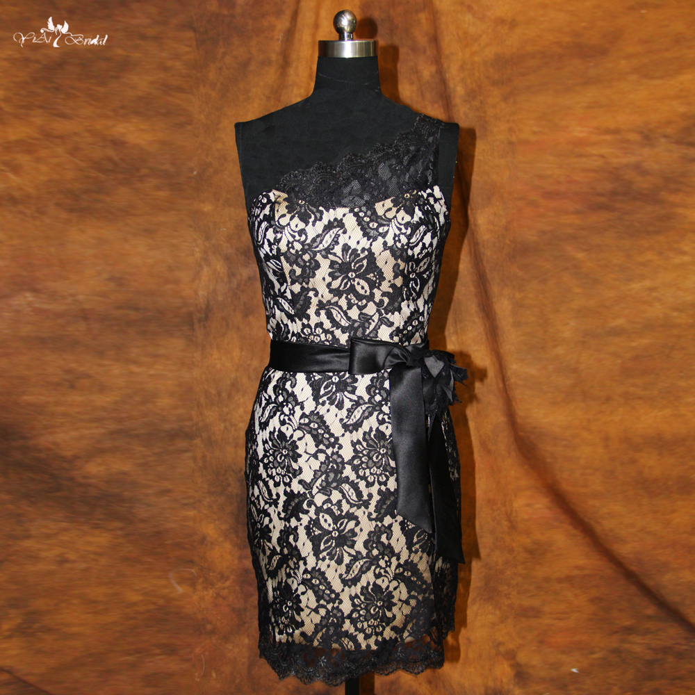 RSE123 One Shoulder Black Lace   Cocktail     Dress