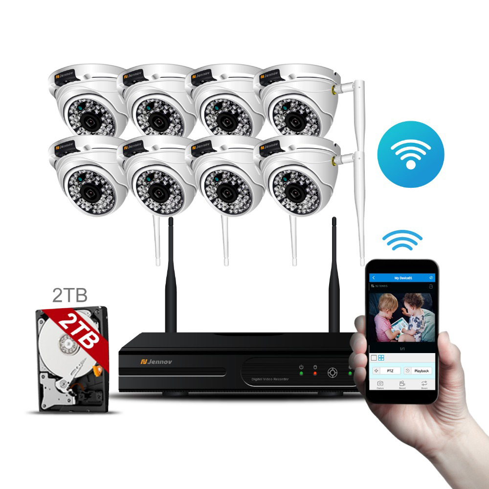 HD Home Wireless Outdoor Security Camera System Kit With NVR Wifi CCTV Set Dome Waterproof Video Surveillance kit P2P App Remote 8ch cctv kit 960p home wireless cctv security camera system with nvr hd wifi video outdoor surveillance kit app remote view