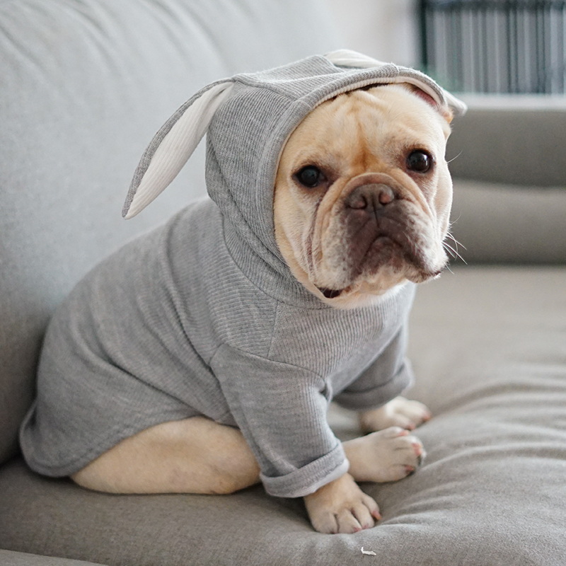 Cute French Bulldog Hooded Coat Jacket Winter Warm Pet Clothes For Small Dogs Sweet Rabbit Ears Shape Puppy Cat Clothing Costume