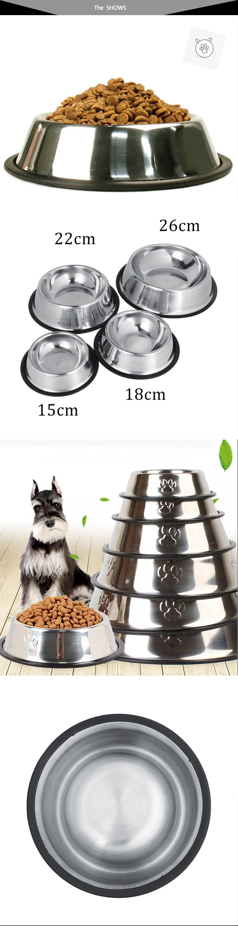 SUPREPET Stainless Steel Non-slip Feeding Bowl For Pets Anti-fall And Anti-bite Dog Bowl And Cat Anti-fall  Feeding Bowl 9