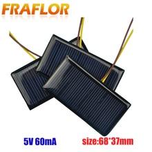 2 stuks Mini PET Zonnepaneel 5 V 60mA Zon Mobiele Polykristallijne Zonnecel Fotovoltaïsche Panel Voor 3.6 V Batterij charger DIY Speelgoed LED