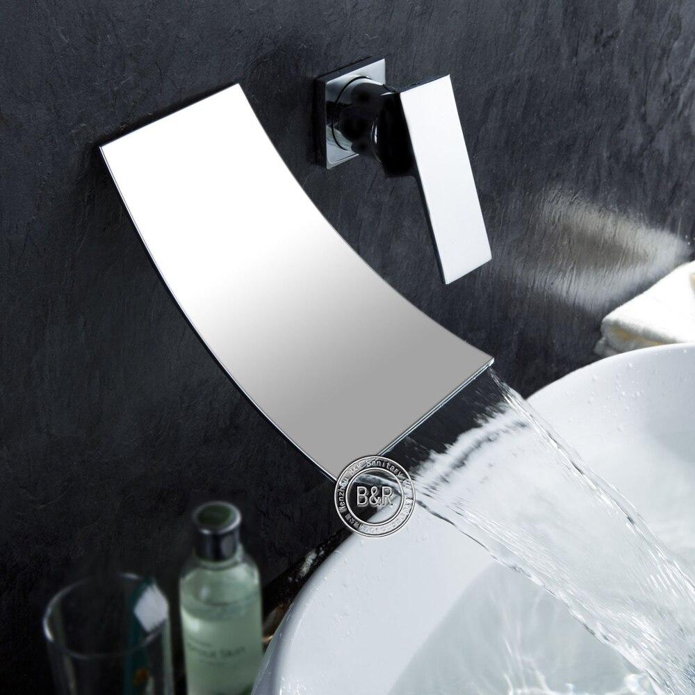 BAKALA single handle chrome finish waterfall bathroom basin faucet Wall Mounted taps niko 50pcs chrome single coil pickup screws