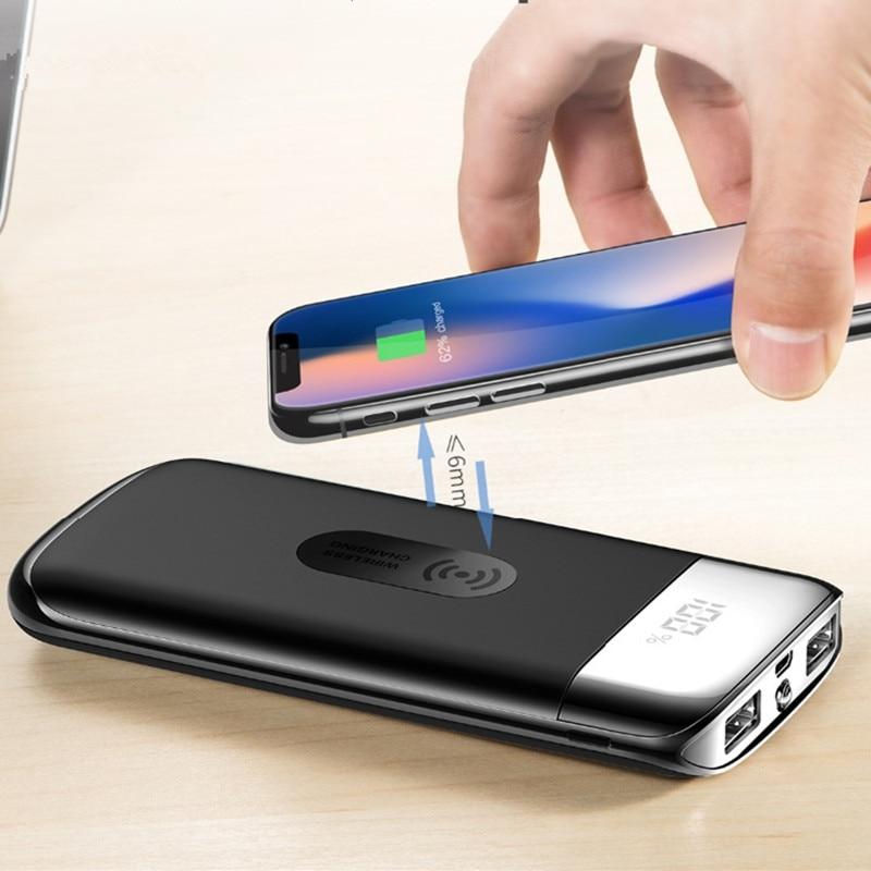 30000mah wireless Power Bank External Battery PoverBank 2 USB LED Powerbank Portable Mobile phone Charger for iphone X Note 8 usb battery bank charger