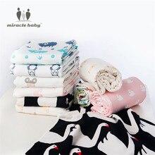 MIRACLE BABY Soft Cozy Six-Layer Pure Cotton Muslin Gauze Bath Towel Swaddle Blanket Wrap Nursing cover Newborn Gift Set unisex