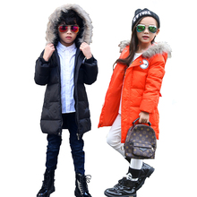New Girls Faux Fur Coat Lids Fashion Fur Collar Jacket Children Boys outerwear Hooded Duck Down Winter Jackets For Teenage Girl