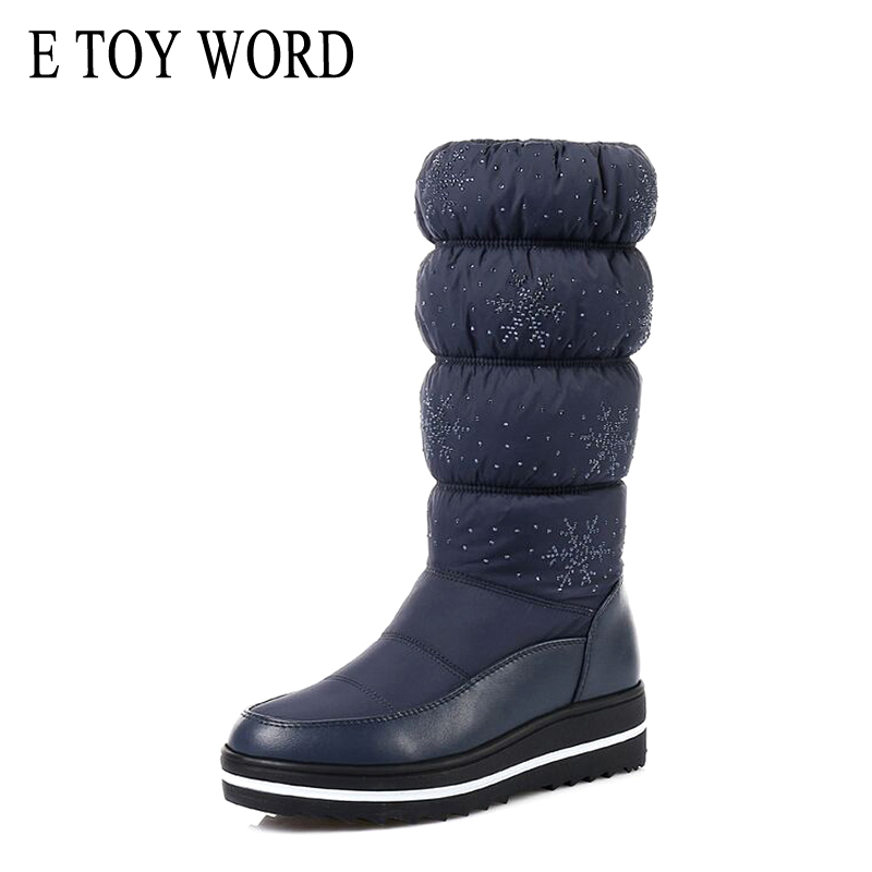 E TOY WORD Plus Size 35-43 Russia snow boots inside fur Winter warm Women boots Snowflake Elastic band mid calf boots black morazora russia women boots big size 35 44 keep warm snow boots platform winter mid calf boots fashion shoes solid white color