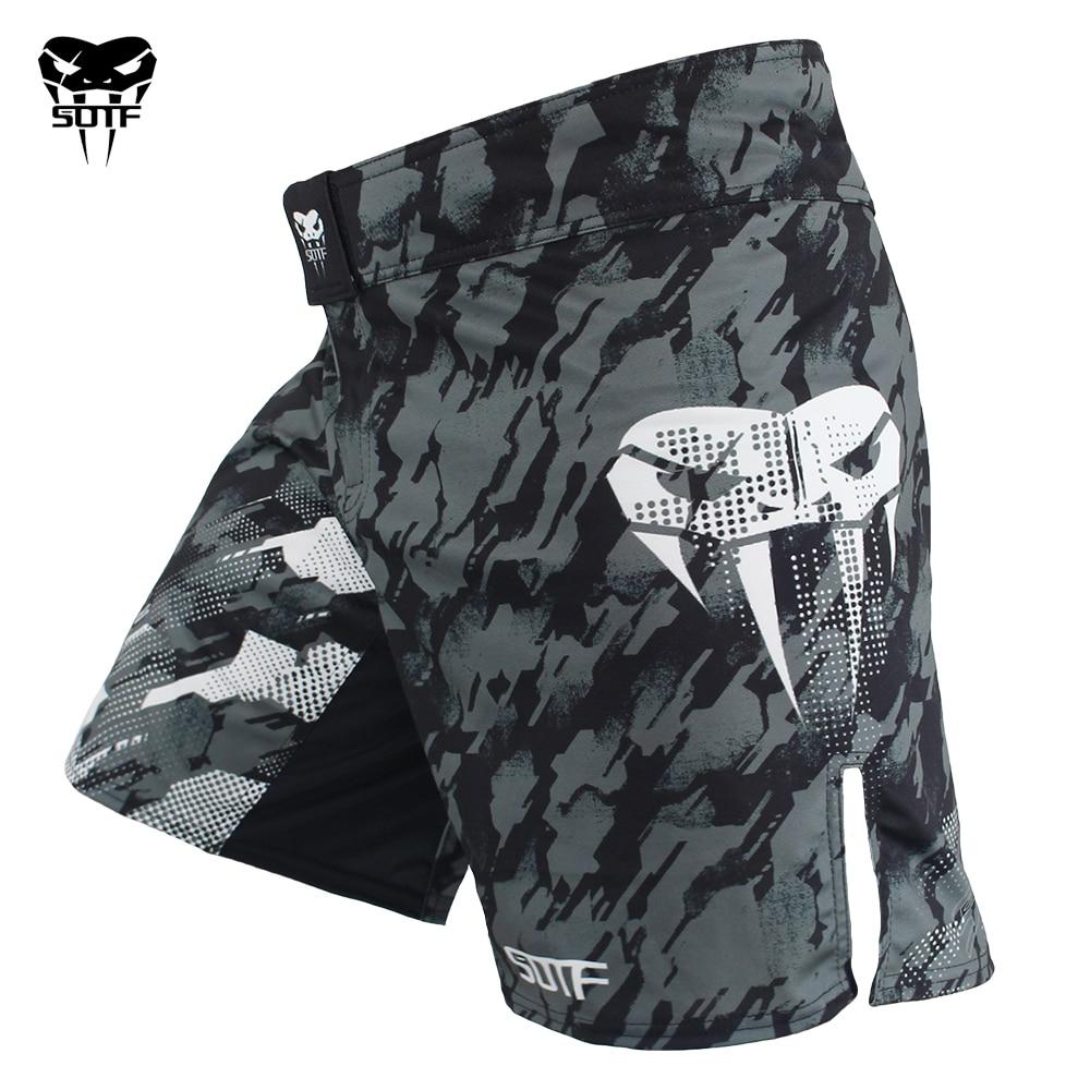 Hardcore Training Classiс Muay Thai Fight Shorts Mens Black White Blue Red Camo Kick Boxing MMA Combat Sport Sparring Trunks