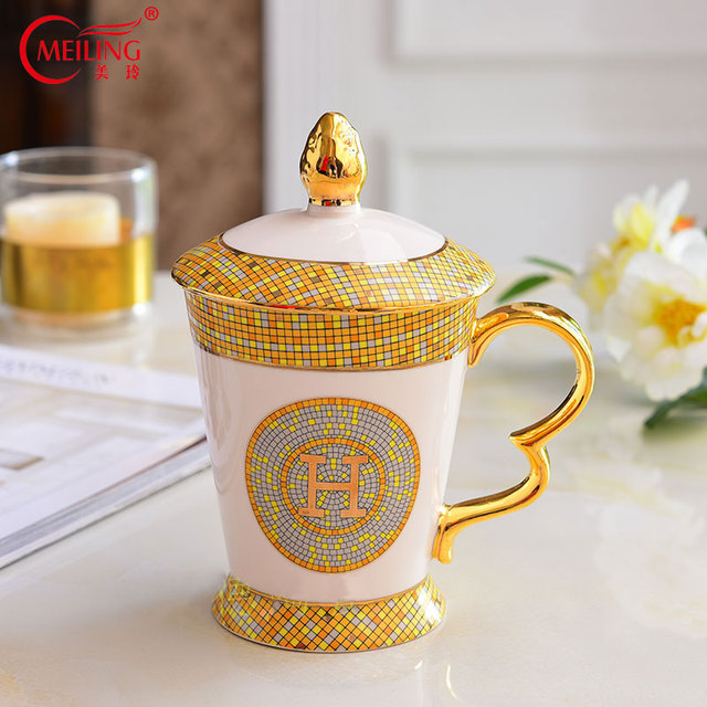 Luxury Gold Porcelain Tea Cup With Cover For Table Decor Tableware Set Birthday Gift Coffee