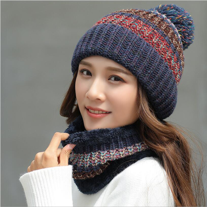 738c9e5b7f0 Ymsaid 2018 Fashion Winter Hat Thick Women s Hat Warm Pom Poms Hats For  Female Girl Knitted