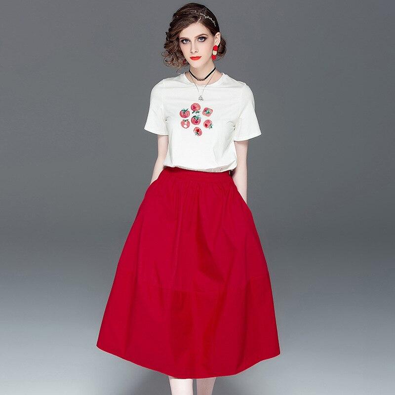 Jupe ensemble femmes bureau dame 2019 été nouveau à manches courtes O cou Sequin imprimer T-shirt + rouge élastique taille jupe deux pièces ensemble
