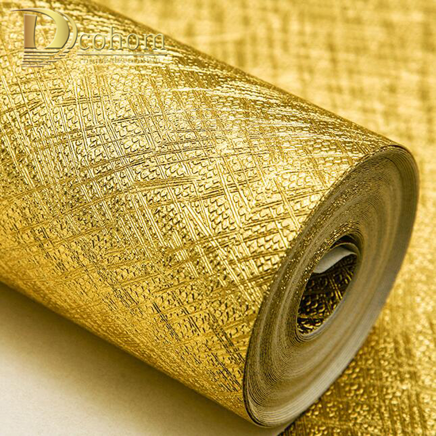 Luxury Golden Silver Gold Foil Wallpaper For Walls Waterproof Modern Metallic Textured Wall paper Living room Hotel Ktv Decor 090601 090603 luxury shiny 3d gold foil wallpapers pvc metallic wallpaper for livingroom abstract modern design wall paper roll