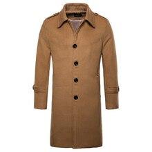 Europe/US size New Brand Woolen Coat Men Fashion Long Trench Coat England Style