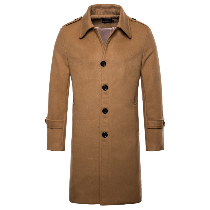 Europe/US size New Brand Woolen Coat Men Fashion Long Trench Coat England Style Wool Blend Single Breasted Jacket Male Overcoats