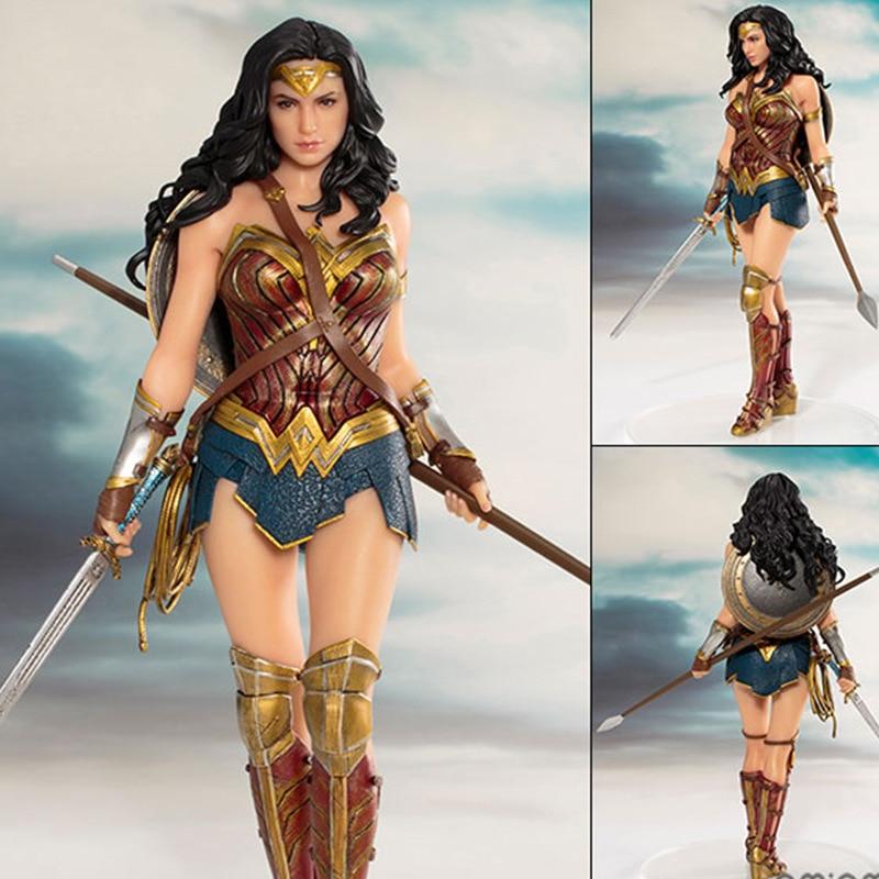 Фигурки героев DC чудо-женщины, игрушечные куклы, 19 см, DC Лига Справедливости, ARTFX чудо-женщина, статуя, Коллекционная модель, экшн-фигурки, игр...